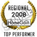 "HomeGain Regional Top Performer"" is the highest ranked agent by region."
