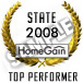 "HomeGain State Top Performer"" is the highest ranked agent by state."
